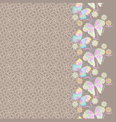 lace vertical seamless pattern with butterflies vector image