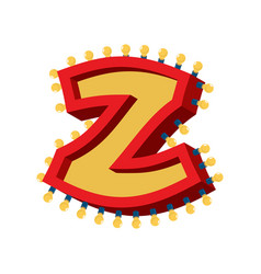 Letter z lamp glowing font vintage light bulb vector