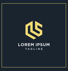 Ls or rs hexagon logo vector