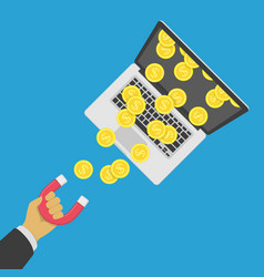 magnet attracts money vector image