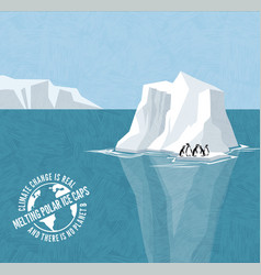 Melting icebergs signs climate change vector
