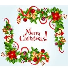 Merry Christmas poster with decorations vector