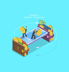 Mobile money transfer isometric flat vector