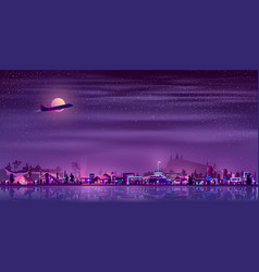 neon fisher village at night countryside vector image