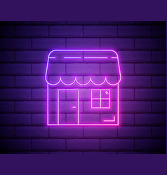 Neon shopping market icon shop object vector