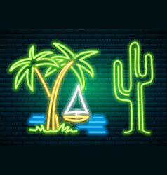 neon signs and icons cactus and tropical plants vector image