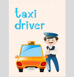 Occupation wordcard with taxi driver vector