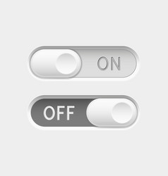 On and off long oval icons toggle switch vector