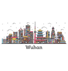Outline wuhan china city skyline with color vector
