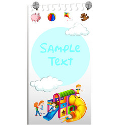 paper template with kids playing slide vector image