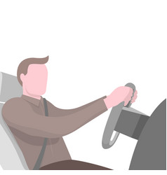 poster with man sitting at the wheel of car vector image