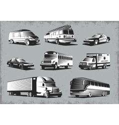 Retro Style Transport Set vector