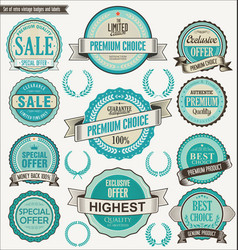 retro vintage blue badge and labels collection vector image
