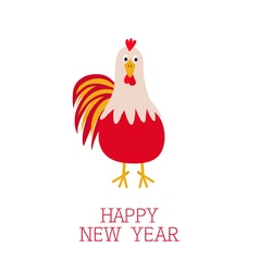Rooster Cock bird 2017 Happy New Year symbol vector