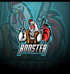Rooster with gun mascot logo design vector