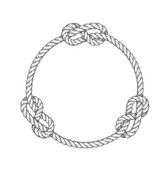 Rope circle - round rope frame with knots vintage vector