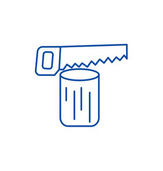 saw logchainsaw line icon concept saw log vector image