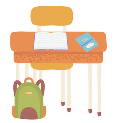 school workplace desk with chair book and notebook vector image