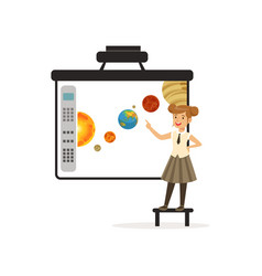 schoolgirl standing in front of an interactive vector image
