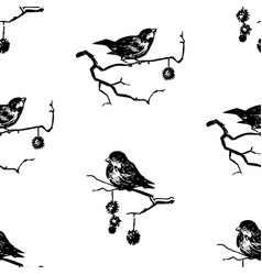 Seamless background sketches sparrows sitting vector