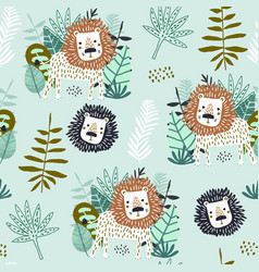 seamless jungle pattern with funny lions vector image