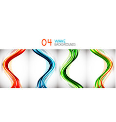 set of colorful flowing motion abstract vector image