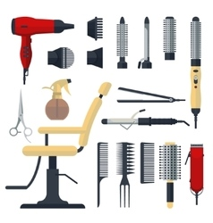 Set of hairdresser objects in flat style isolated vector