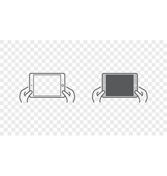 Set of Icons with Hands Holding Smart Device with vector