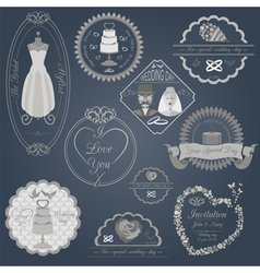 Set of vintage wedding and wedding fashion style vector image