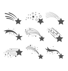 Shooting stars with tails icons vector