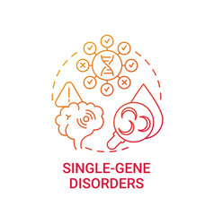 single gene disorders red gradient concept icon vector image