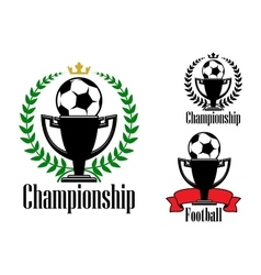 Soccer championship badges with ball and cup vector