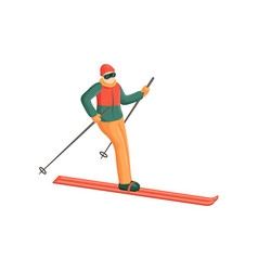 the skier slowly descends from the mountain vector image