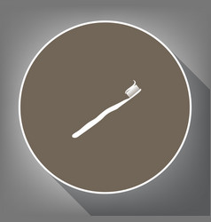 toothbrush with applied toothpaste portion vector image