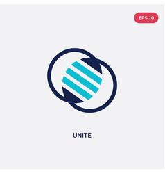 Two color unite icon from geometric figure vector