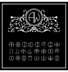 Victorian Monogram Elegant line art logo vector