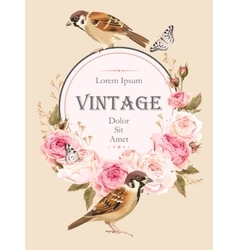 Vintage card with birds vector