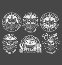 Vintage monochrome sailing and marine emblems vector