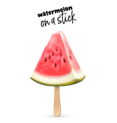 Watermelon fruit 3d slice ice cream stick vector