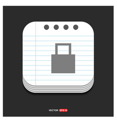 web lock icon gray icon on notepad style template vector image
