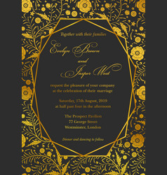 wedding invitation poppy floral invite card vector image