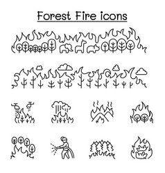 Wildfire forest fire icon set in thin line style vector