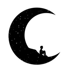 with sitting boy silhouette and crescent vector image