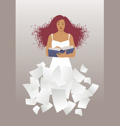 woman reading a book with hair in the wind hair vector image