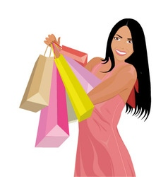 Woman with shopping vector