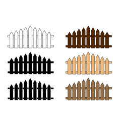 wooden fence set simple design isolated on white vector image