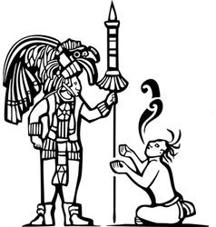 Mayan Warrior and Captive vector image