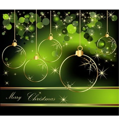 Merry Christmas background gold and green vector image vector image