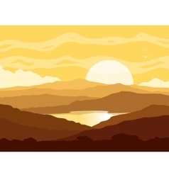 Mountain landscape with yellow sunset vector image vector image
