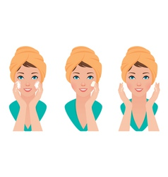 Set girl skin care face washing and application of vector